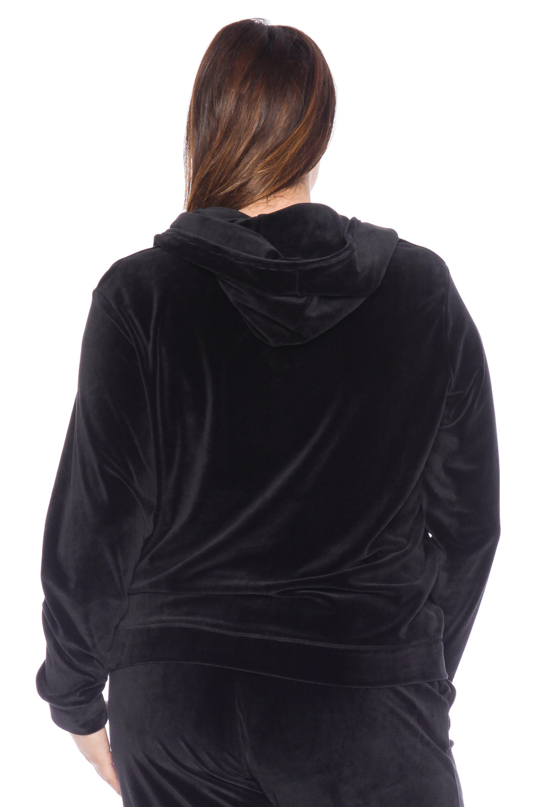 The Velour Zip-Up Hoodie - JET BLACK