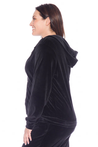 Velour Zip-Up Hoodie - JET BLACK