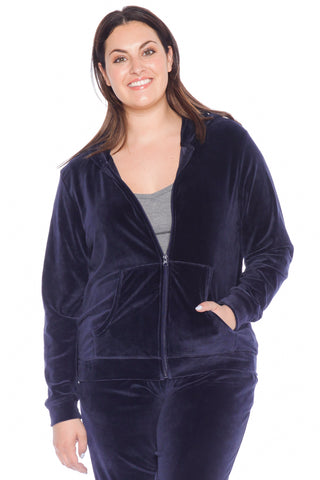 The Velour Zip-Up Hoodie - NAVY