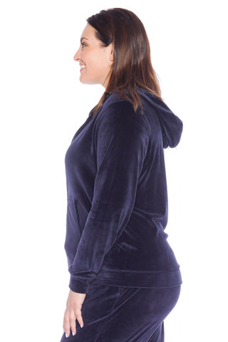 Velour Zip-Up Hoodie - NAVY
