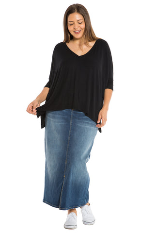 Ribbed V-Neck - BLACK