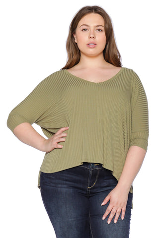 Ribbed V-Neck - DARK OLIVE