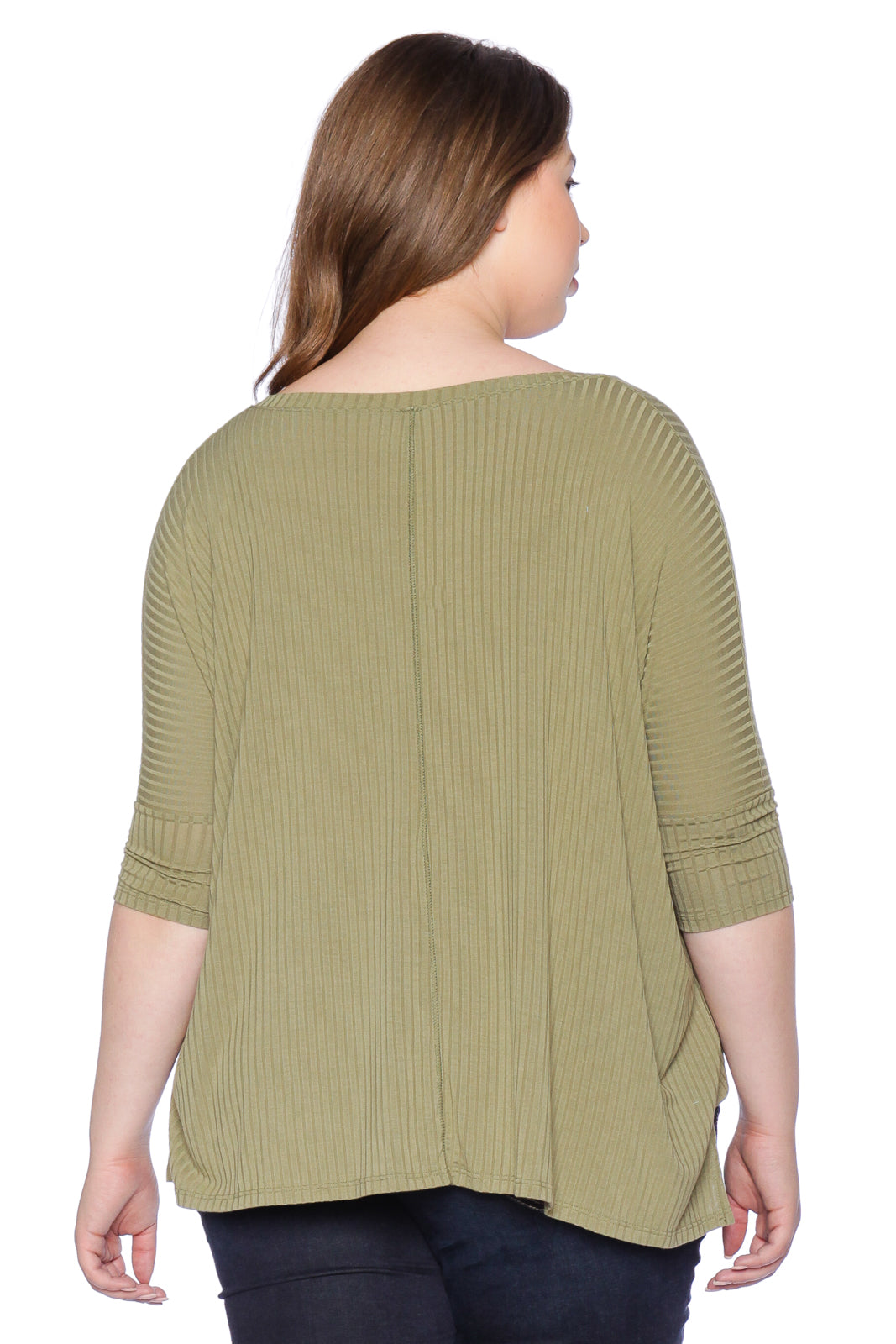 The Ribbed V-Neck - DARK OLIVE