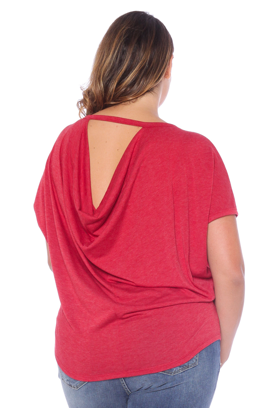 Back Drapped Dolman - HEATHER BURGUNDY