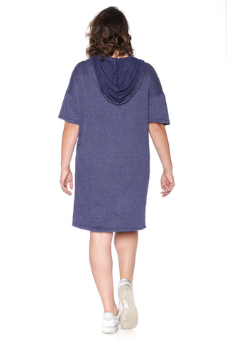 Lace Up Hoodie Dress - NAVY