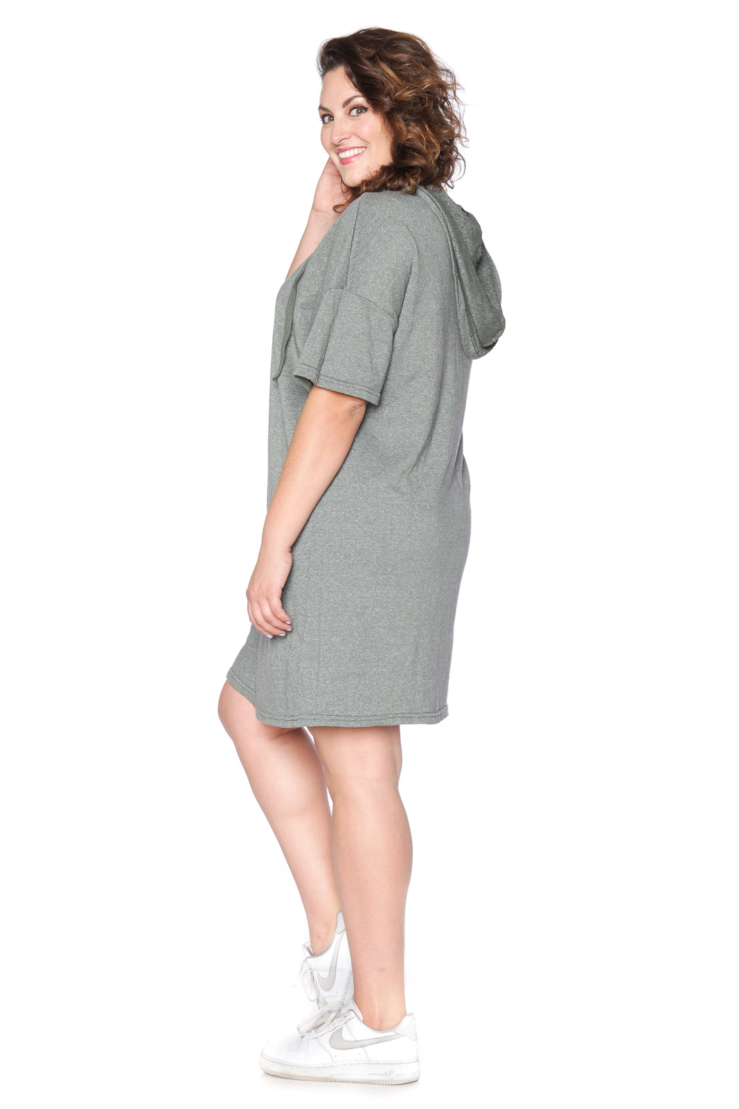 Lace Up Hoodie Dress - OLIVE