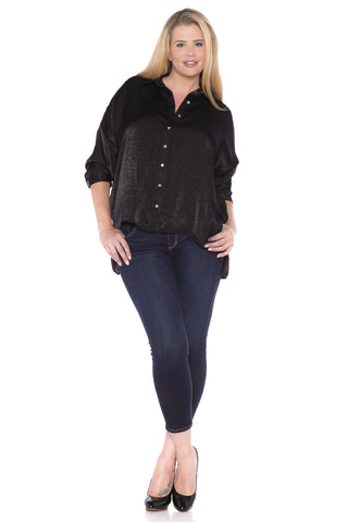 Hi Lo Satin Shirt - BLACK