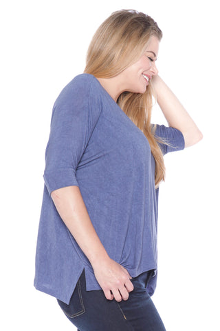 Distress V-Neck - INDIGO