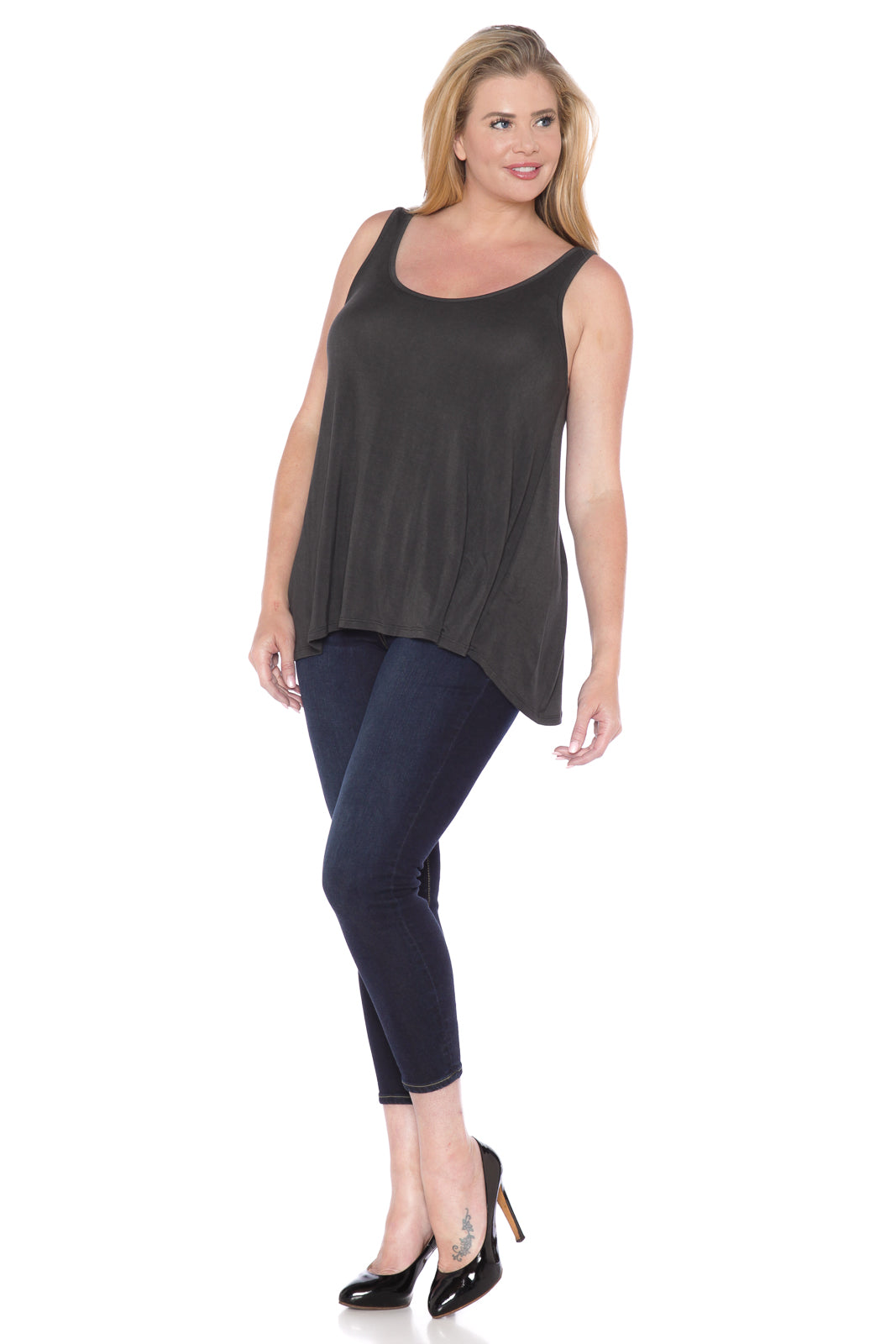 Distressed Relaxed Tank - BLACK