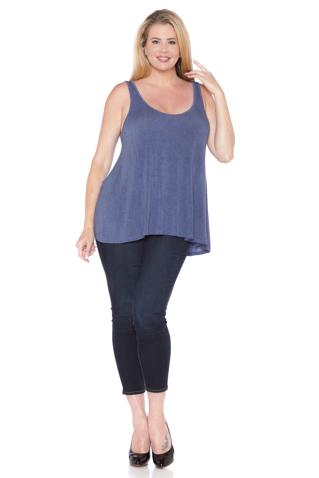 Distressed Relaxed Tank - INDIGO