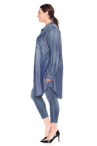 The Tunic Button Down - MIDNIGHT BLUE