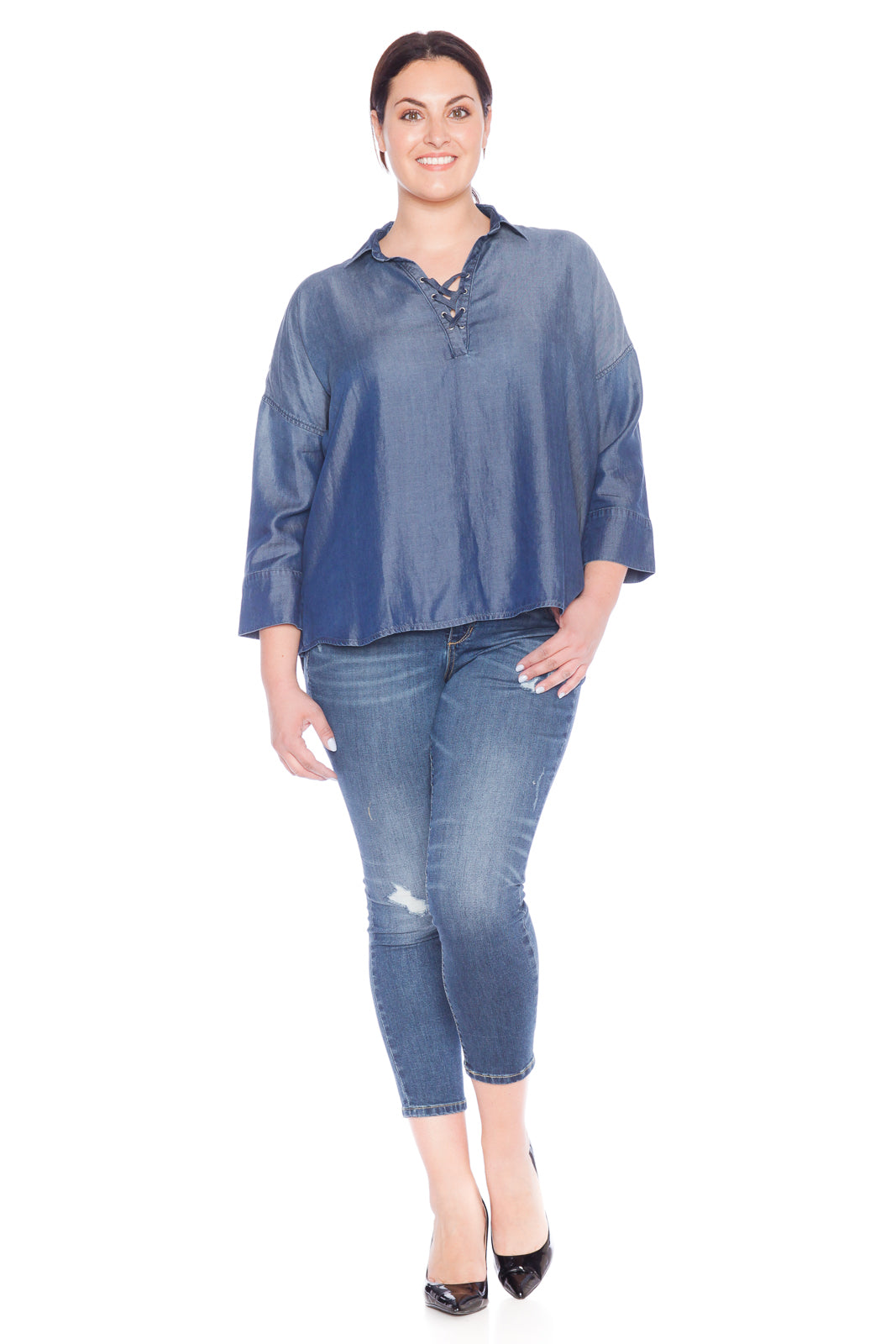Lace Up Tencel Shirt - MIDNIGHT BLUE