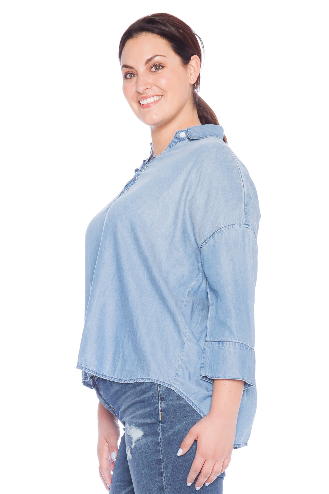 Lace Up Tencel Shirt - SKY