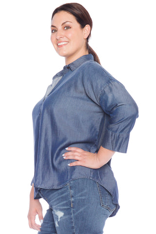Hi-Lo Oversized Button Down Shirt - MIDNIGHT BLUE