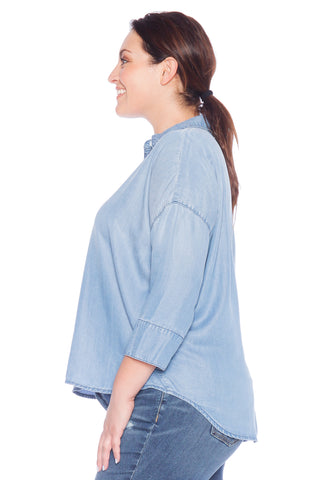 Hi-Lo Oversized Button Down Shirt - SKY