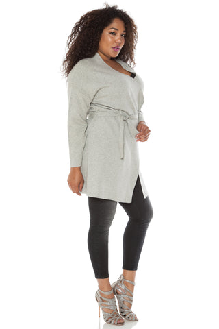 Raw Edge Open Cardigan with Belt - SILVER