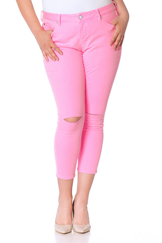 Ankle with Slit Knees - NEON PINK