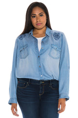 Western Shirt With Paisley Embroidery - ALICIA