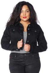 The Crop Twill Jacket - BLACK