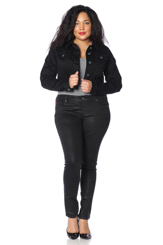 Crop Twill Jacket - BLACK