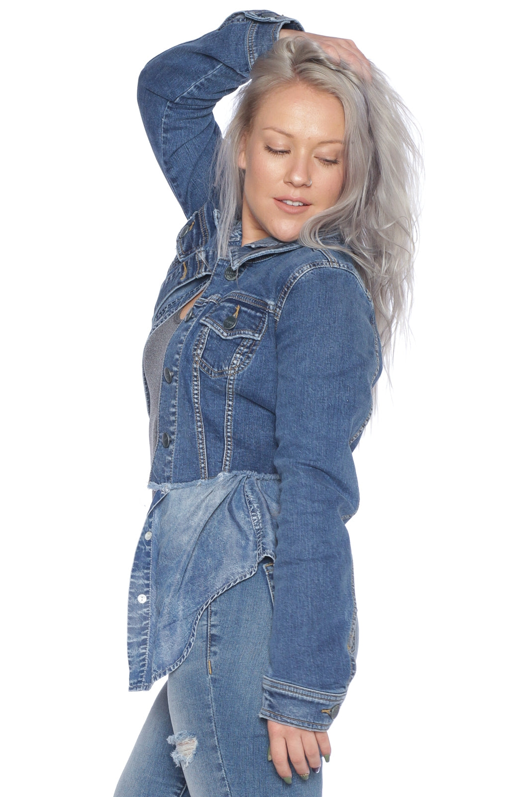 The Frayed Hem Denim Jacket - CRISTEN