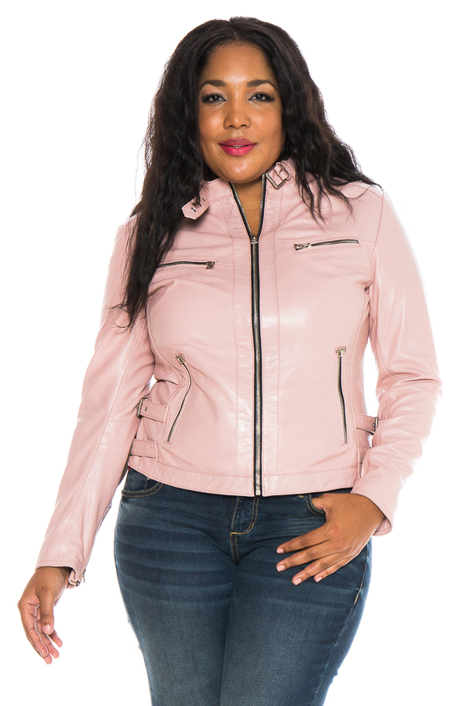 The Moto Fitted Jacket - PINK