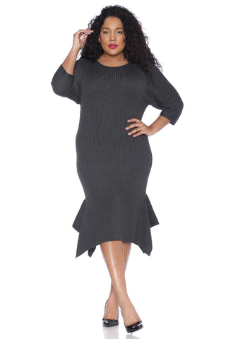 The Sweater Dress with Ruffle Hem