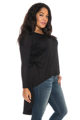 Long Sleeve Hi-Lo Top - BLACK