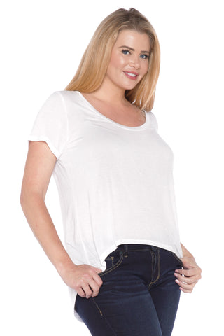 High Low Short Sleeve Scoop Neck Tee