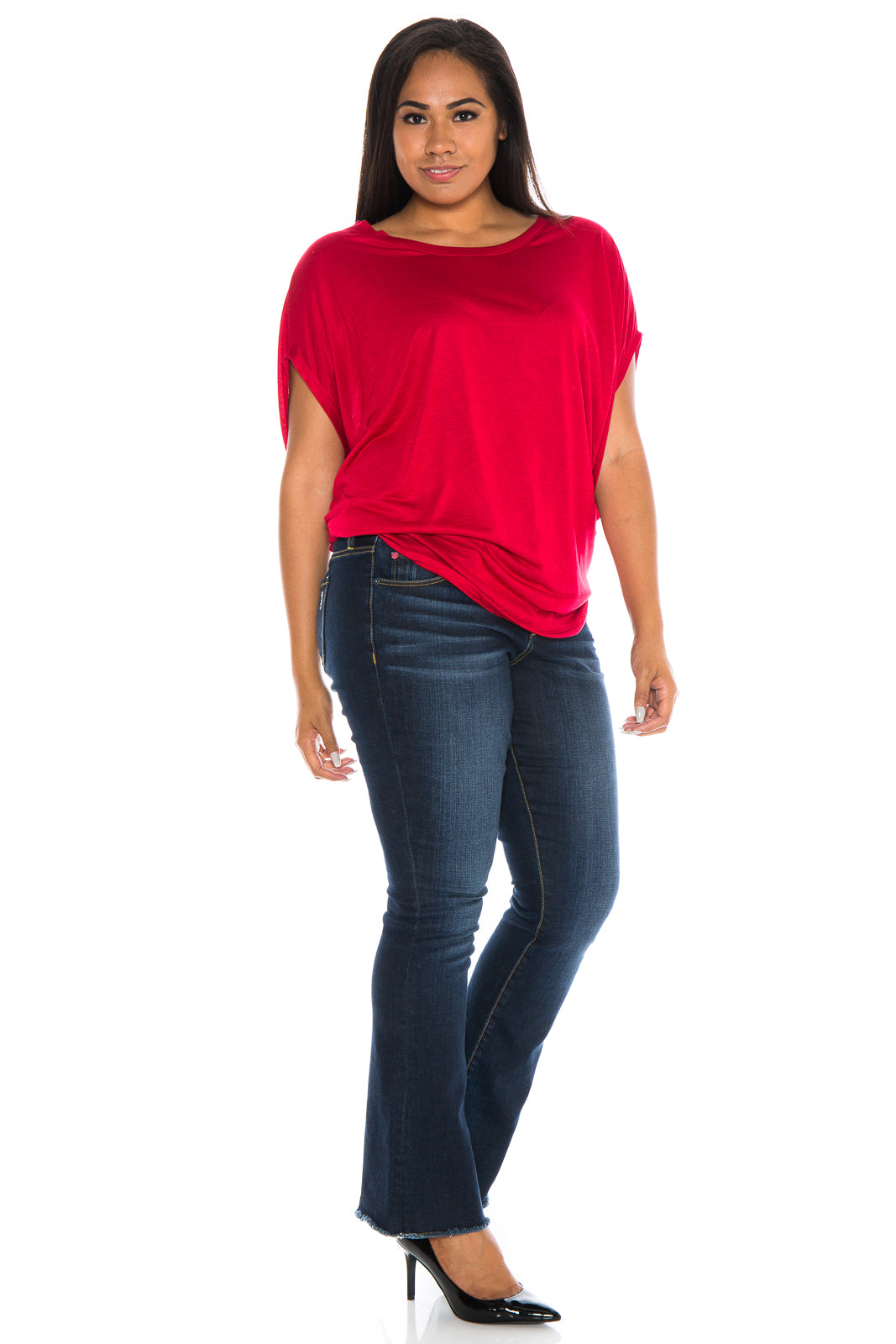 The Scoop Neck Dolman - RED