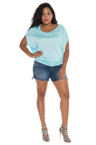 The Scoop Neck Dolman - AQUA