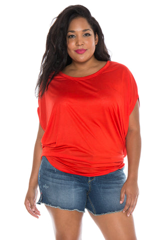 The Scoop Neck Dolman - TOMATO