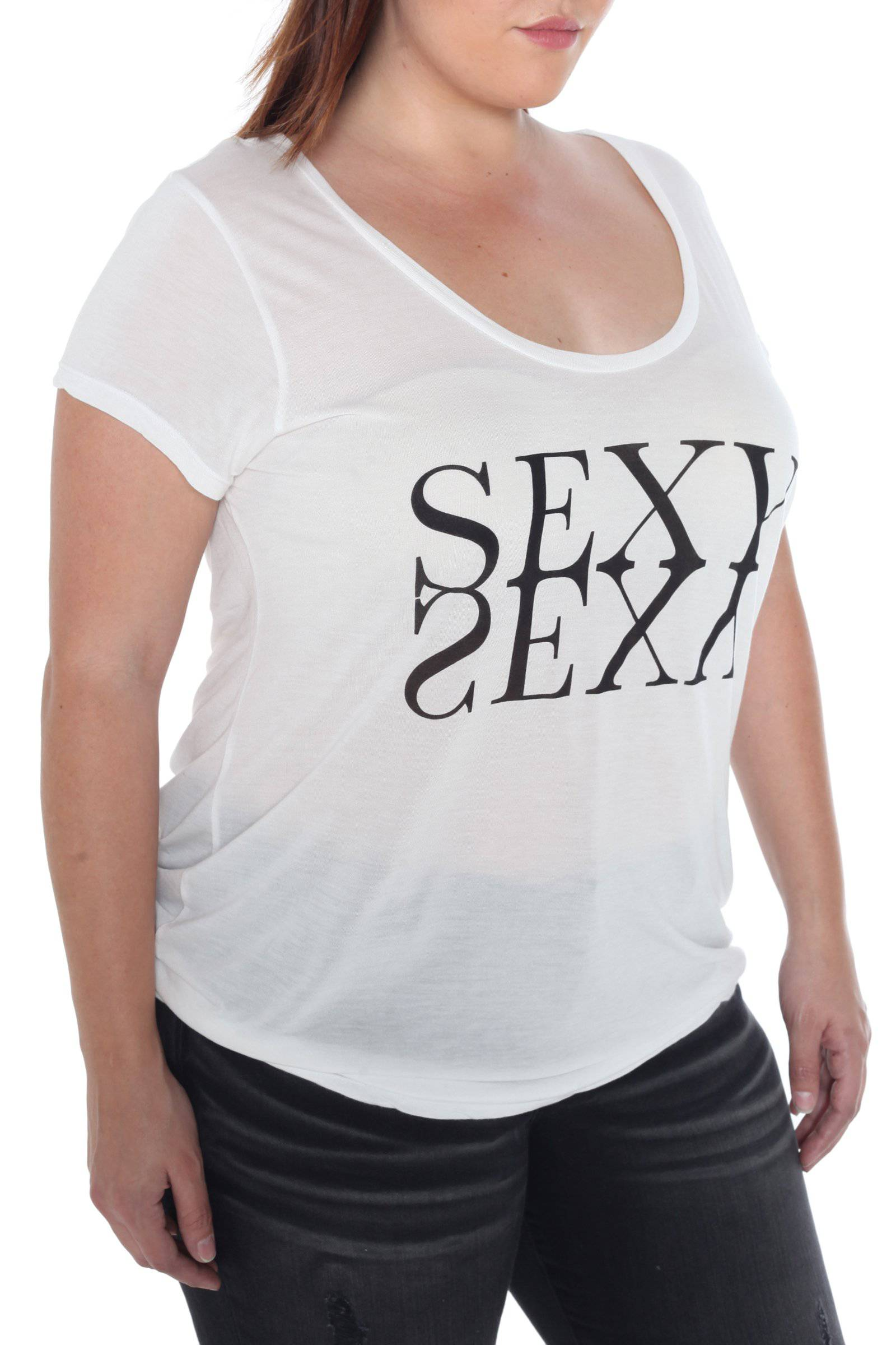 Sexy Vintage Short Sleeve Scoop Neck Tee