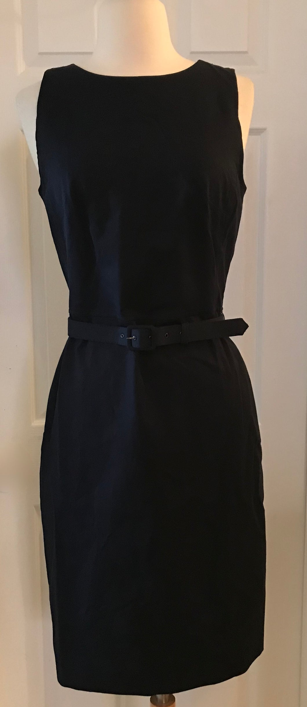 99d73acb J.CREW BELTED SHEATH DRESS IN TWO-WAY STRETCH COTTON SIZE 4 NAVY G7547