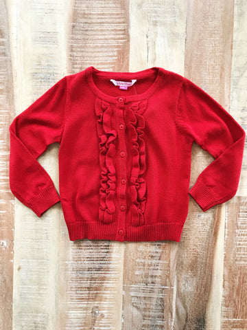 Red Ruffled Cardigan