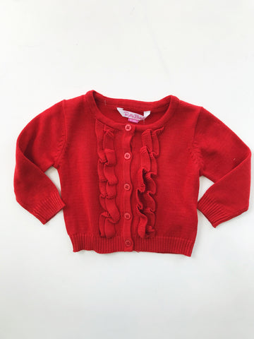Red Ruffled Baby Cardigan