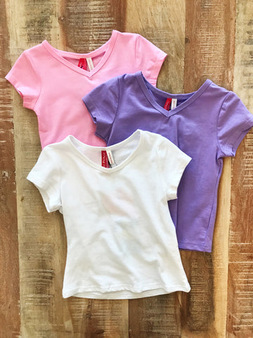 Girl's Solid V-Neck Tee