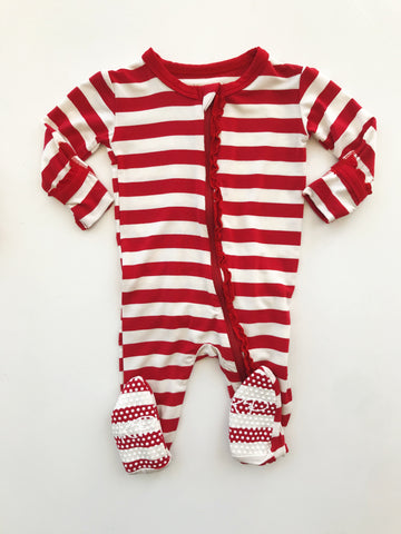 Candy Cane Ruffle Footie with Zipper