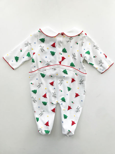 Holiday Print Collared Footie
