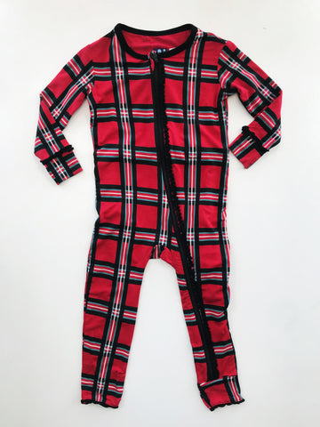 Kickee Pants Muffin Ruffle Plaid Coverall