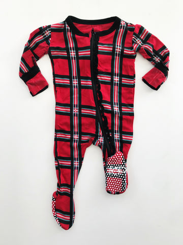 Kickee Pants Muffin Ruffle Plaid Footie