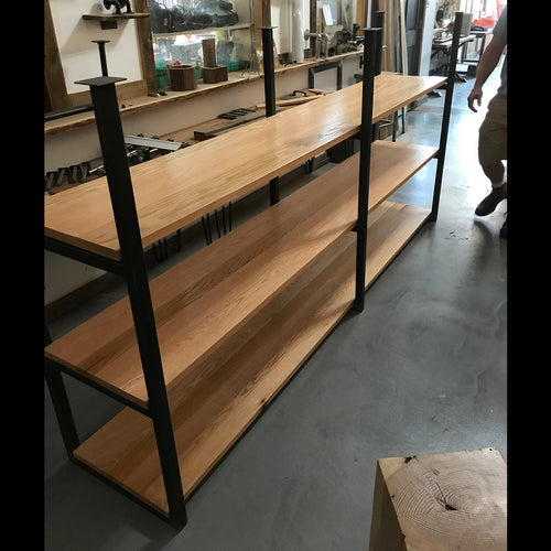 Ceiling Mounted Steel and Oak Wood Shelf