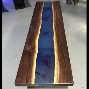 Live Edge Walnut and Epoxy Resin Coffee Table