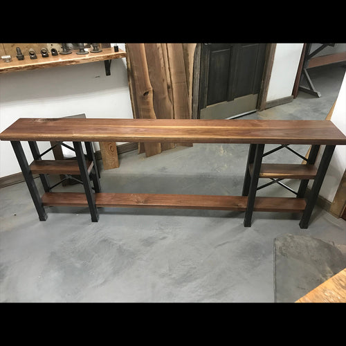 Modern Walnut Wood Console Table