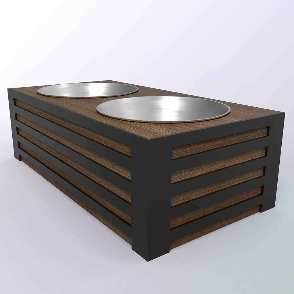 Reclaimed Wood and Steel Food Bowl