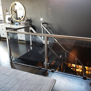Glass and Steel Stair Railing