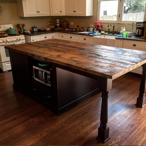 Reclaimed Top and Cabinetry Island