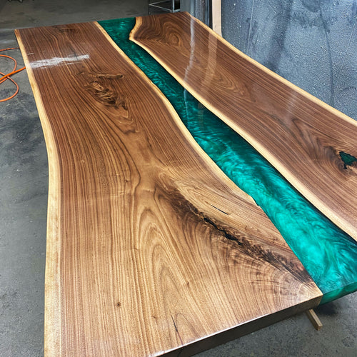 Emerald Green Live Edge River Table