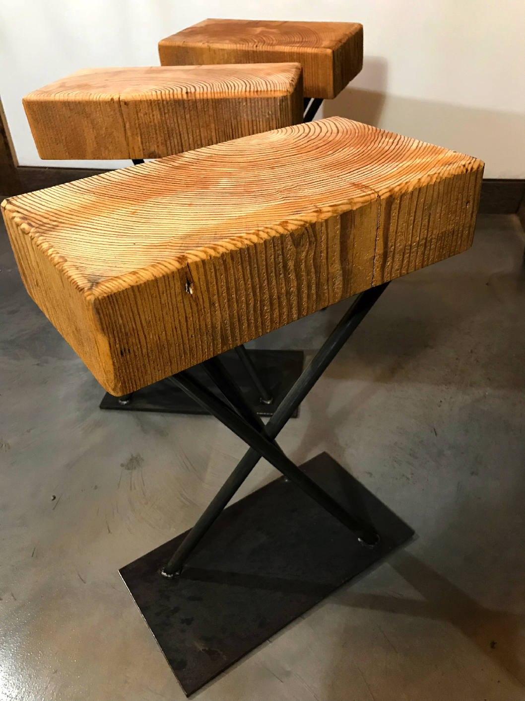 Rustic Steel and Structural Timber Stool