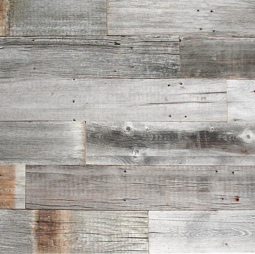 Gray Reclaimed Barn Wood Wall Panel- Easy Peel and Stick Application (20 Sq Ft, Reclaimed Barn Wood)
